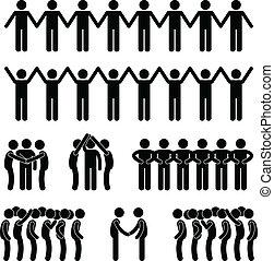 homme, unité, uni, communauté, gens