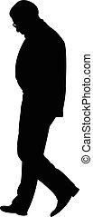 homme, vecteur, marche, silhouette