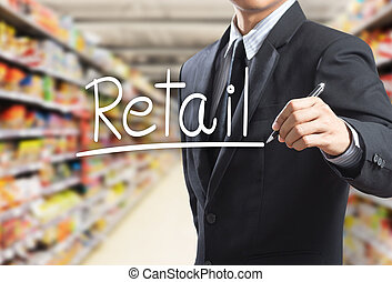 homme, vente au détail, mot, business, écriture