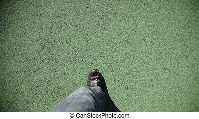 homme, vert, marche, texture