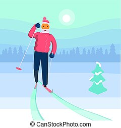 homme, vieux, skieur