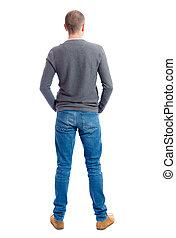 homme, vue, dos, jeans.
