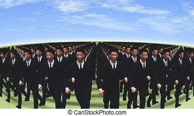 hommes affaires, marcher