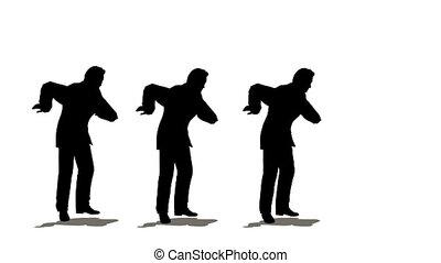 hommes affaires, trois, danse