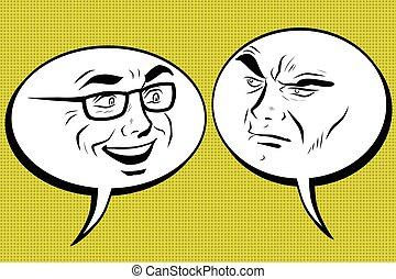 hommes, angry., smiley, deux, figure, comique, bulle, joyeux
