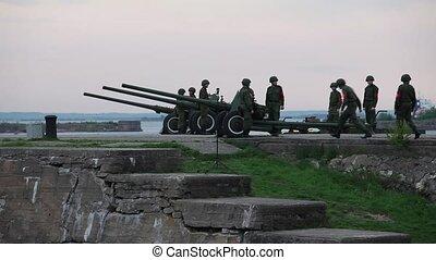 hommes, artillerie