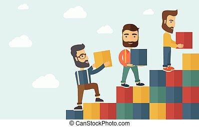 hommes, blocs, trois