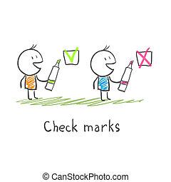hommes, chèque, marques
