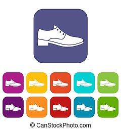 hommes, chaussure, icônes, ensemble