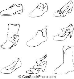 hommes, chaussures, femmes