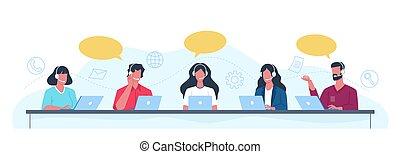 hommes, client, donner, aide, femmes, questions, bureau, operators., clients, répondre, vecteur, ensemble, appeler, professionnel, advice., centre, helpdesk, casque à écouteurs, soutien, clients, employés, concept, gens