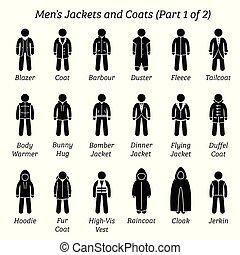 hommes, coats., vestes