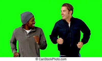 hommes, deux, vert, écran, courant