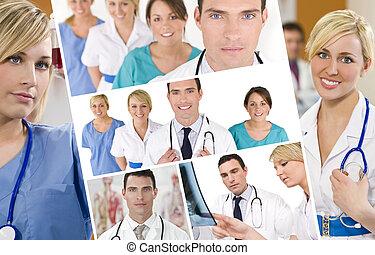 hommes, docteur, femmes, hôpital, équipe, monde médical, infirmières, &