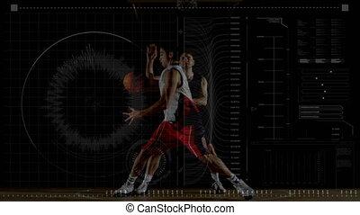 hommes, données, basket-ball, jouer, deux, traitement