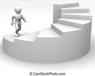 hommes, escalier