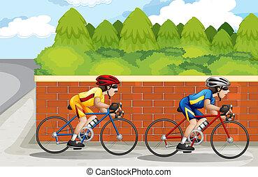 hommes, faire vélo, deux