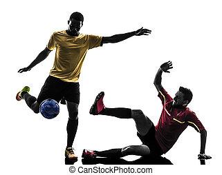 hommes, joueur, football, deux, debout, silhouette
