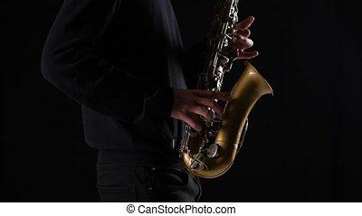 hommes, musicien, saxophone, mains, professionnel, jouer
