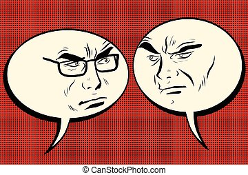hommes, parler., fâché, smiley, deux, figure, comique, bulle