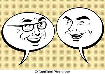 hommes, parler., smiley, deux, figure, comique, bulle, heureux