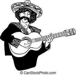hommes, pla, chant, croquis, mexicain