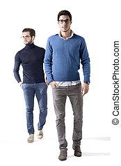 hommes, prise vue., deux, clothes., beau, studio, élégant