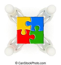 hommes, puzzle, morceaux denteux, tenue, assemblé, 3d