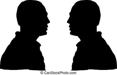hommes, silhouette, figure