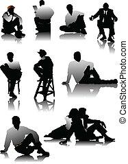 hommes, silhouettes, séance