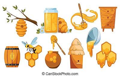honeycomb., abeille, vecteur, collection, suspendu, abeilles, illustrations, swarm., louche, spoon., ruche, miel, bois, illustration, gouttes, arbre., beekeeping., ensemble, pot