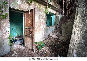 hong, abandonnés, kong, ii, bâtiment, guerre mondiale