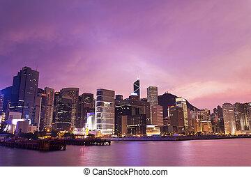 hong, bâtiments bureau, kong, coucher soleil, fond