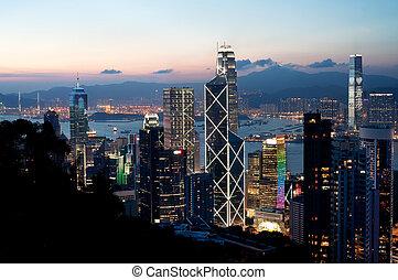 hong, central, gratte-ciel, district, île, kong, coucher soleil