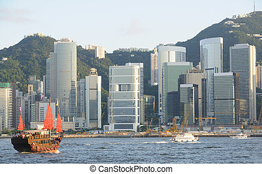 hong, chinois, voile, kong, bateau, habour, victoria