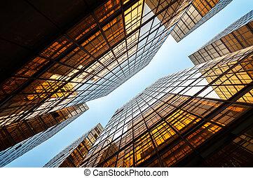 hong, coup, bureau, lumière, bâtiments, kong, refléter, haut