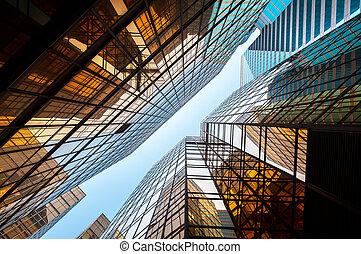 hong, gratte-ciel, commercial, kong, verre, perspective, haut