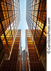 hong, gratte-ciel, commercial, kong, verre, perspective