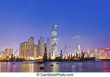 hong, industriel, port, bateaux, kong, coucher soleil