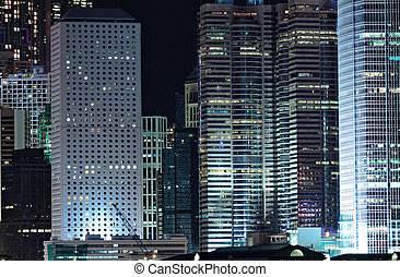 hong kong, bâtiments, business, nuit