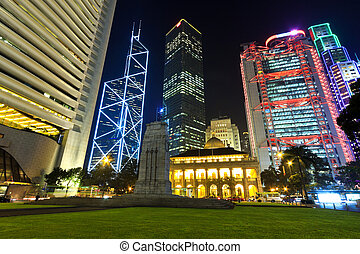 hong kong, bâtiments, nuit