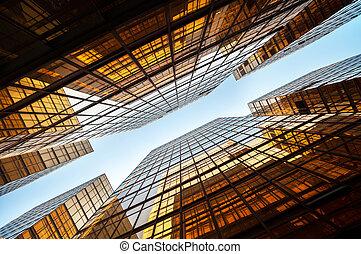 hong, moderne, coup, bureau, haut-ascension, kong, symétrique, bloc, haut