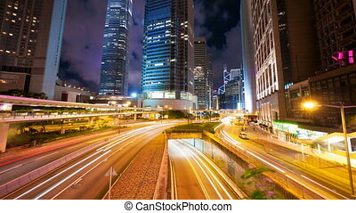 hong, mouvement, timelapse, kong, (4096x2304), rue, trafic, 4k, nuit