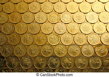 hong, or, argent, pièces, kong, monnaie, fond, $0.5