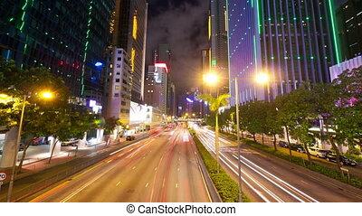 hong, timelapse, kong, mouvement, rue, trafic, nuit