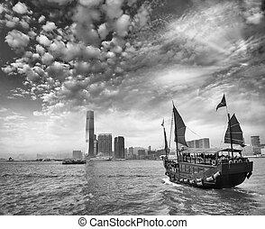 hong, voile, kong-kowloon, détroit, eau, luna, croisement, bateau