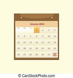horaire, mensuel, janvier, conception, 2014, calendrier