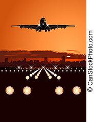 horizon, avion ligne, atterrissage