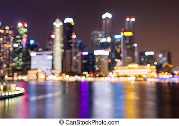 horizon, backgroung, cityscape, ville, downtown., brouillé, nuit, urbain