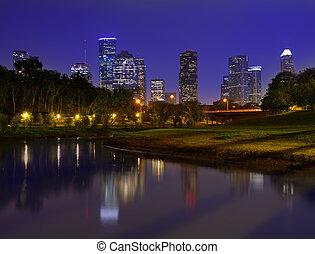 horizon houston, coucher soleil, texas, nous